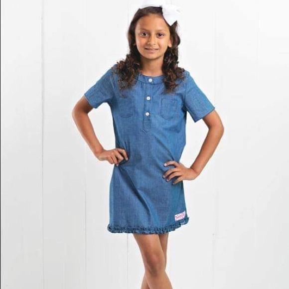 Ruffle Girl Chambray Short Sleeve Dress